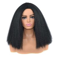 Big Yaki patrón de onda corta que explotan con ambos lados divididos con una peluca de peluca esponjosa hembra