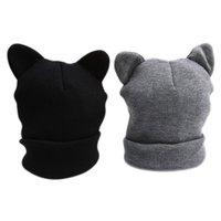 قبعات في الهواء الطلق 1 قطعة عالية الجودة الأزياء القط آذان محبوك قبعة جميلة مضحك الشتاء الدافئ قبعة للنساء صوف كاب رمادي أسود