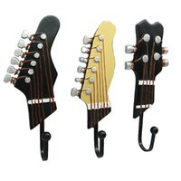 Hooks & Rails 3pcs Creative Guitar Head Shaped Resin Cloth Hat Keychain Wall Hook Kitchen Household Decorative Storage Accessories