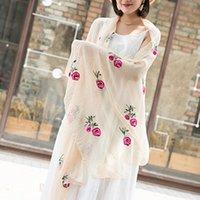 Шарфы женщины шарф многоцветный персиковый цветущий печать длинные шифоновые мягкие обертки женские шали