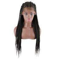 Geflochtene Perücken für schwarze Frauen 31 Zoll Handgemachte synthetische Spitze Front Perücke Cornrow Braids Spitze Perücken Knotenlose Box Perücke