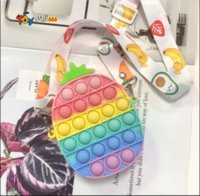 Fidget Toys Coins Purse Colorful Push Bubble Sensory Squishy Stress Reliever Autism Needs Anti-stress Rainbow Adult Toy small bags For Children