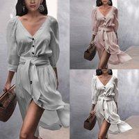 3 Arten Frauen Kleider Langhülse V-Ausschnitt Button Lace Up Solide Farbe Sexy Lose Große Größe Kleid Elegante Retro Mode Temperament