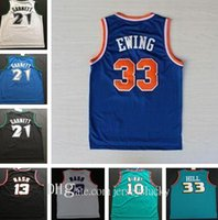 Top Quality Retro Basketball Jerseys Garnett 33 Hill Ason Stockton 32 Karl Malone Jason Williams Ewing Gary Payton Kemp Barkley Jersey NCAA