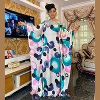 الأفريقي طويل ماكسي حجم الحرة النساء فساتين المطبوعة قفطان الحرير الأزياء الملابس