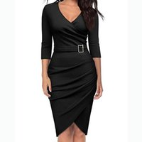 Casual Dresses 40# Office Lady Cross Hem Wrap Hip Dress Women Sexy Solid Color V Neck Bodycon Long Sleeve Commuting With Belt