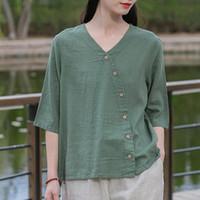 Women's Blouses & Shirts Johnature Women V-neck Linen Loose Top Vintage Solid Color Short Sleeve 2021 Summer Leisure