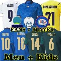 Chiellini fãs jogador 2021 2022 Itália Bonucci Futebol Jersey Italia Jorginho Insigne Verratti Homens Crianças Camisas de Futebol Chiesa Barella Spinazzola Finais Donnarumma