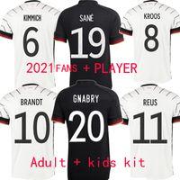 2021 Alemanha Fussball Jersey für Fans Spielerversion Home Away Black Erwachsene Kinder Kit Kimmich Sane Kroos Gnabry Copa Europeia Football Shirt