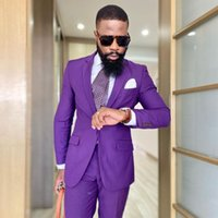 Stylish Purple Mens Suit Notched Lapel Wedding Tuxedos Two Pieces Groom Wear One Button Party Prom Blazers With Jackets And Pants