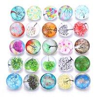 Bracelets de charme 2021 Snap de verre bijoux mélangés beaux arbre de vie modèle exotique bouton 18mm pour bracelet bricolage