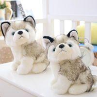 Divertenti giocattoli di peluche del cane husky farcito carino animali in bianco e nero di animali Hobby 18cm più fondo rosso