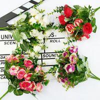 Decorative Flowers & Wreaths 1 Bouquet Artificial Peony Color Rose Silk Fake Flower DIY Living Room Home Garden Wedding Decoration