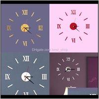 Акриловые римские цифры настенные часы комната домашний декор DIY оригинальность молчание наклейки современный стиль часы прибытия 7 5LD F2 GNJS9 HJAZQ