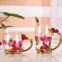 Wine Glasses Blue Rose Crystal Cup Flower Tea Glass High-grade Water Mug DDC-46