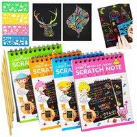 Sihirli Renkli Çizim Kağıt Kart Gökkuşağı Kazı Çizik Sanat Kitap Kazıma Boyama Çocuk Eğitim Öğrenme Doodle Çizik Oyuncaklar Q0313