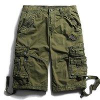 Pantaloncini da uomo 2021Men Summer Summer Summer Large Casual Pants Cotton Half Metà Mid Vita Coulisse Breve Capris Multi Bag Camouflage