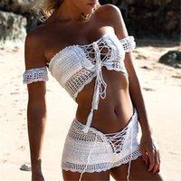 Donne Fashion Beach Bikini Set Set da maglia Costume da bagno all'uncinetto Boemia Stile Off Spalla Bagnatura fatta a mano nappe Bikini Bra