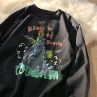 Women's Hoodies & Sweatshirts 3 Colors Green Vintage Letters Dinosaurs Harajuku Brand Teens Clothes 2021 Autumn Long Sleeve Tops Pullovers F