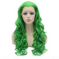 "26 ""Lange # T6138 Groene Zware Dichtheid Warmte Vriendelijke Fiber Front Lace Synthetic Hair Party Pruik"
