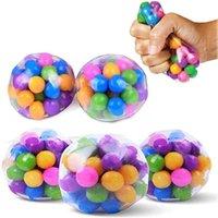 2021 Regnbåge Tryckkula Fidget Toy DNA Färgade pärlor Stress Relief Ball TPR Soft Lim Grape Burr Pinch Squeeze Barnens daggåva