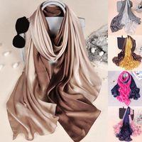 Scarves 2021 Women Luxury Fashion Designer Soft Pashimina Long Head Wraps Silk Hijab Scarf Gradient Sunscreen Shawl 180*90cm