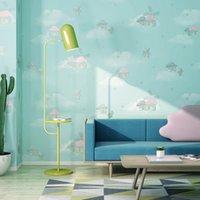 Wallpapers cartoon urso quarto infantil 3d encantador bonito não tecido papel de parede rosa princesa menino menina azul