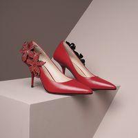 2021 Women dress shoes Fashion Flowers decoration Asakuchi Soft bottom Pointed Women's High heel Ladies party sabot size 34-39