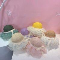 Summer Girls Straw Hat Cute Beautiful Lace Floppy Sun Lovely Beach Wide Brim Sunshade Panama Bag 2pcs Set Caps & Hats