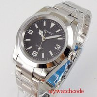 40 мм Bliger 21 Jewels Miyota 8215 NH35 Движение мужские Часы Сапфировый кристалл черный циферблат устричный браслет стекло задние наручные часы