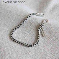 ANENJERY 925 Sterling Double Hook Box Chain Thai Silver Punk Style Letter Couple Bracelet For Women Men S-B319