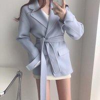 Women's Wool & Blends JSXDHK Korean Style Chic Autumn Winter Coats Fashion Turn Down Collen Lace Up Belt Lady Split Long Sleeve Woolen Outer