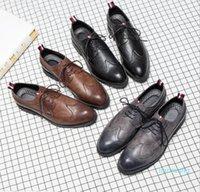 Brand Designer-Mens casual shoes wingtip black leather formal wedding dress derby oxfords flat shoes tan brogues shoes for men