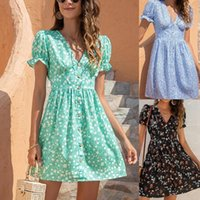 French Romance Retro Dress Women Casual Floral Print V Collar Clothing Ruffles Puff Sleeve Dresses Lady Women's Swimwear