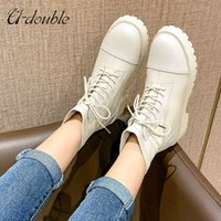 U-double Ankle Boots Big Size 41 Women Genuine Leather 2022 New Lace-up Fashion Platform Winter Office Lady Footwear