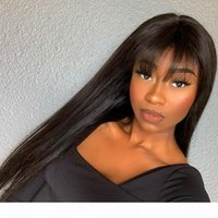 Silky Straight Lace Front 180Density Human Hair Wigs Fringe Wigs Glueless Full Lace Peruvian Human Hair for Black Women