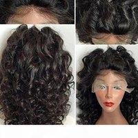дешевые продукты AFRO Kinky Курли синтетические волосы безразличного кружева передний парик термостойкие для черных женщин # 1 14-28 '' 150% плотность fzp77