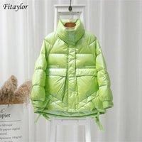 Fitaylor зимние женщины стоят воротник яркий цвет пальто на 90% белая утка Parkas толщина теплые негабаритные снежные воды 210909