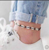 Cavigliera di guscio di mare bohemien per le donne ragazze nera handmade corda corda catene estate spiaggia braccialetto caviglia su gamba uomini bohodff1035