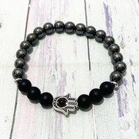 SN0872 New Design 8 mm Hematite Energy Power Men`s Bracelet Hanma Charm Matte Black Onyx Bracelet Best Yoga Gift for Him