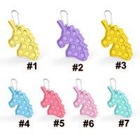 Cute Unicorn Beychain Push Bubble Poppers Poo - его ключевое кольцо настольные головоломки игрушка сенсорные Fidge Pads держатель для детей взрослых подарки H41G53B