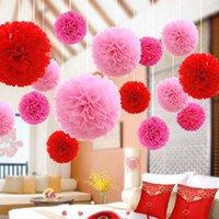 パーティーの装飾ぶら下がっている紙のボールティッシュペーパーPOMの花4 6 8 10 12 14インチ23色選択可能な誕生日結婚式の装飾Y0909