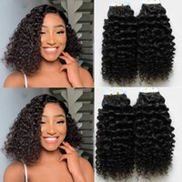 Short style Curly Tape In Hair Extensions Human Hairs Skin Weft 40pcs set Natural Color #2 #4
