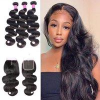 10A El cabello humano brasileño teje 3 paquetes con trama de pelo de onda de cuerda de encaje de 4x4 con cierre