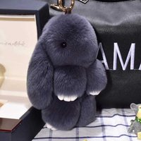 Cute Flashy Bunny Rex Real Rabbit Fur Pompon Ring Pom Toys Puppet Bag Charm Car Key holder