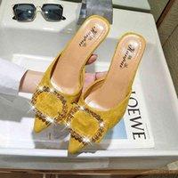 المرأة الصيف عالية الكعب البغال النعال السيدات الإناث الأحذية قطيع امرأة الأزياء الأحذية النعال للنساء