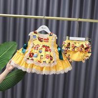 Mädchen Kuchen bedruckt Sleeveless Prinzessin Kleid 2021 Sommer Kinder Spitze Tut A-Linie Kleider Süße Kinder Bowknot Kleidung mit Shorts S1054