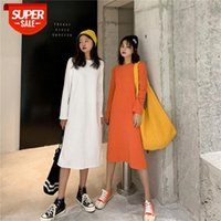 Korean style loose and thin long-sleeved straight solid color dress female over-the-knee mid-length student base skirt #Bj0p