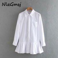 Nlzgmsj Women White Pleated Shirt Mini Dress Long Sleeve Turn Down Collar Office Dresses Solid Casual A-line Vestidos