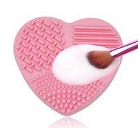 품질 핑크 그린 컬러 심장 실리콘 메이크업 브러쉬 클리너 휴대용 소형 청소기 실용적인 화장품 브러쉬 청소 상자 세정기 클리너 마른 습식 이중 사용